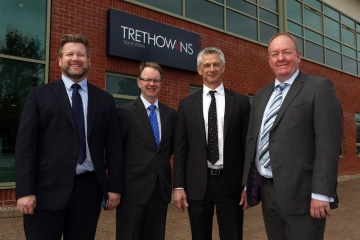L-R  - partners Simon Rhodes from Trethowans, Mark Daniels from Dickinson Manser Chris Whiteley, managing partner of Trethowans and Gary Pick senior partner of Dickinson Manser