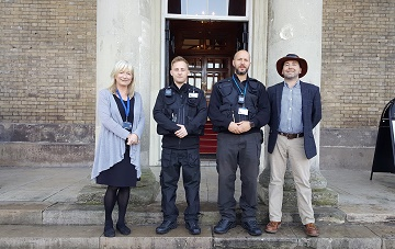 left to right: Lynne Davies, Street Scene Manager for Salisbury City Council, Enforcement Officers Cllr Sven Hocking
