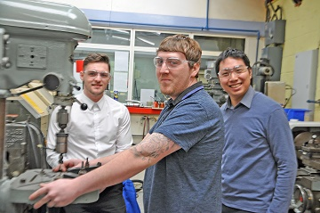 From left apprentice Todd Green, apprentice Shane Hutton and graduate engineer Jack Lee at Barnbrook Systems in Fareham .