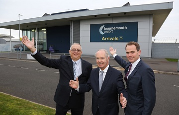 Sir Peter Rigby, Group Chairman and Founder, Rigby Group (centre) with (left) Paul Knight, Managing Director, Bournemouth Airport, and Andrew Bell, Chief Executive, Regional & City Airports (RCA).