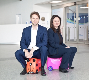 Patent attorney, Simon Robinson of Barker Brettell, and Heather Williams, tax partner at Mazars, with the Trunki case whose owners, Magmatic, recently lost a high profile court case to protect the original design of its product.