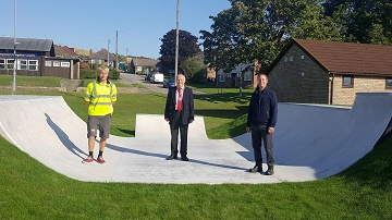 L-r - Clark from Clark and Kent Contractors, Cllr John Walsh who is the Mayor of Salisbury, Mostyn Coombes who is Salisbury City Council's Parks Manager at the opening of the skate ramp.