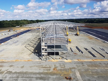 New hangar with giant cantilever roofs takes shape at London Biggin Hill Airport for Bombardier Aviation
