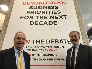 Hampshire Chamber Chief Executive and Executive Chairman Ross McNally, right with Chamber director Peter Taylor at the British Chambers of Commerce annual conference in London on 5 March.
