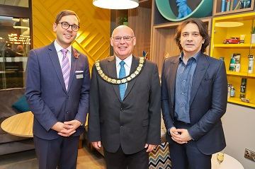 L-r:Peter Baerwinkel, General Manager at Holiday Inn Bournemouth, Chair of BCP Council, Cllr David Flagg with Hemang G Popat, Managing Director for Jaymens Limited.