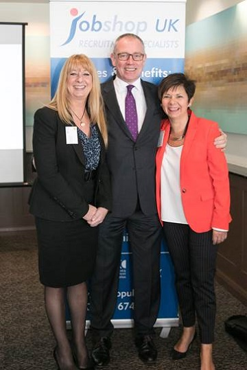 Frances Miles, director, Jobshop UK; Kevin Green, CEO of the REC; Tracey Wood, director, Jobshop UK.