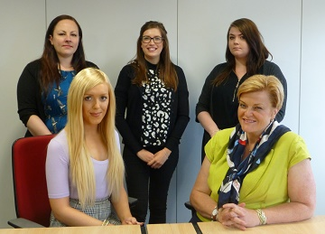 Back row left to right:  Jo Forsyth, Megan Austwick & Lauren Barry and front row: Lana Squire & Sarah-Jayne Croft.