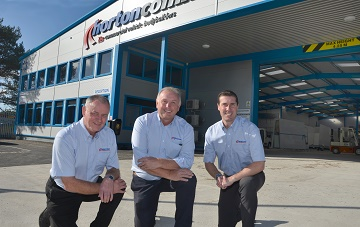 (from left) Chris Chaffey Dave Wolfenden and Richard Hall at Horton Commercials new product centre.