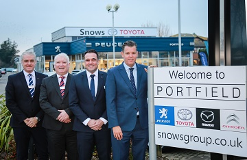 From left, Graham Simpson (Group Aftersales Manager), John Lindsay (Peugeot Sales Manager), John Harkness (Mazda Sales Manager) and Neil McCue (Group Board Director).