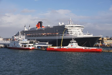 Cunard and Red Funnel Southampton: File picture of cruise ship and ferries at Southampton (Picture: Andrew Cooke)