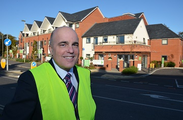 Nick Groves at the completed McCarthy & Stone homes at Hamble