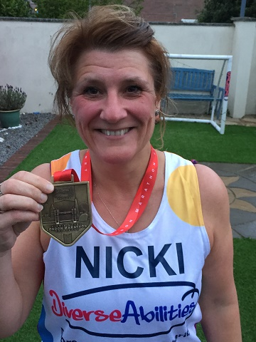 Nicola Sawyer who took part in the Virgin Money London Marathon in aid of Diverse Abilities.