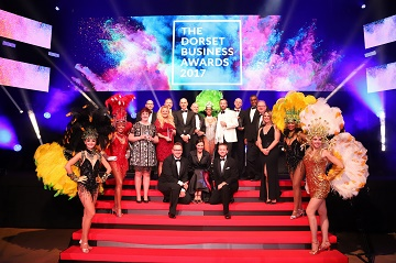 Winners of the 2017 Dorset Business Awards with award hosts the breakfast team of Wave 105