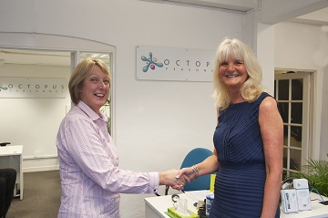 Teresa McGuire, client services manager at Ward Goodman with Sandra Smart, managing director at Octopus Personnel.