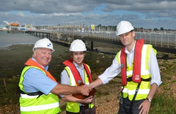 From left:WFBA's Bill Brown and Structural Engineer Oliver Stubbs with Jeff Japes prepare to inspect the quality of work on the Warsash Pier.