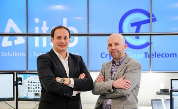 Scott Gower-Smith, Managing Director of Crystal Clear Telecom, left, with Lee Dredge, ITSB Chief Executive Officer, at their Bournemouth headquarters. The two prominent technology businesses have merged, with more expansion plans to follow