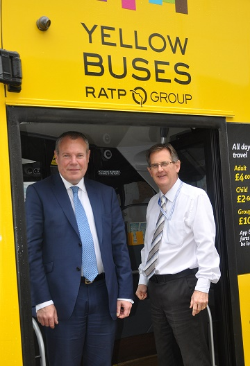 MP Conor Burns with Andrew Smith, MD of Yellow Buses