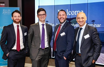 Speakers at the Ellis Jones' insolvency seminar (left to right) Carl Arreghini, associate solicitor, Ells Jones; Seb Oram, 3PB Barristers; William Fox Bregman, Head of Banking and Finance Litigation, Ellis Jones, and Robert Bajaj, consultant solicitor.