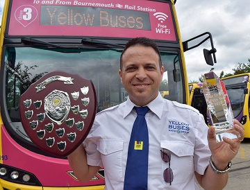 Yellow Buses' driver Marks Norbrega who is competing in the national finals of the Bus Driver of the Year contest with colleague Stuart White.