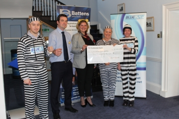Battens Cheque Presentation Ceri Stephens  Director and James England Tax and Trust Accountant.