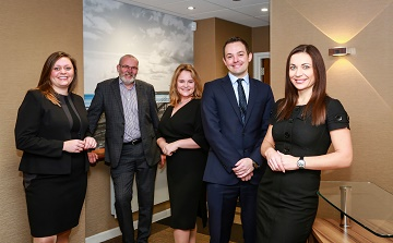 Nigel Smith, Managing Partner, Ellis Jones Solicitors (second left) with new Partners Katie Taft (left), Kate Brooks (third left), Senior Associate Ian Butterworth and Associate Anna Zeeva.